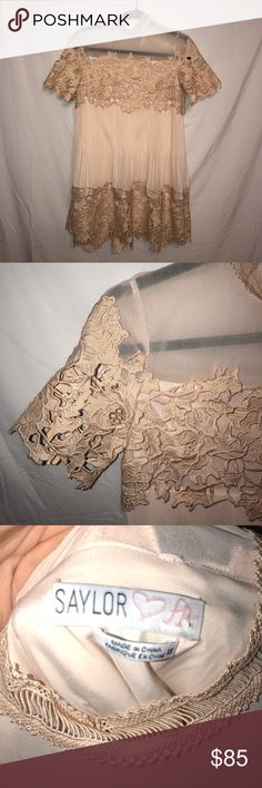 FREE PEOPLE light peach hollie lace mini dress PERFECT condition- i wore this dress one time for my engagement pictures!! (Check the last picture )  Free People Hollie lace peach colored mini sweetheart dress  floral lace on top and bottom Crimped material in midsection for slight fan effect  Mesh on collarbone area Button in back Cutest dress ever⭐️ Free People Dresses