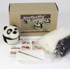 Needle felting panda kit от woolbuddy на Etsy