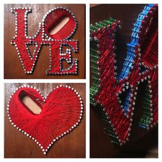 Love N Your Heart is handmade using wood, nails, string and some good ol sweat to create the opening for the letter O. It is obviously inspired by