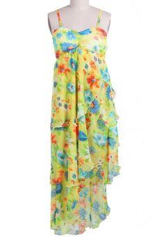 #SheInside Yellow Spaghetti Strap Floral Asymmetrical Dress