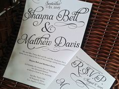 Chic Black and White Shayna Printable Wedding Invitation - DIY Invitation