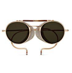 THOM-BROWNE.-Round-frame-Gold-tone-Sunglasses