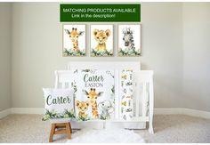 Set of 6 Safari Animal PrintsNursery Wall DecorWatercolor | Etsy Canvas Wall Collage, Diy Canvas Art, Safari Nursery, Nursery Prints, Baby Boy Themes, Green Gifts, Safari Animals, Nursery Wall Decor, Baby Shower Gifts
