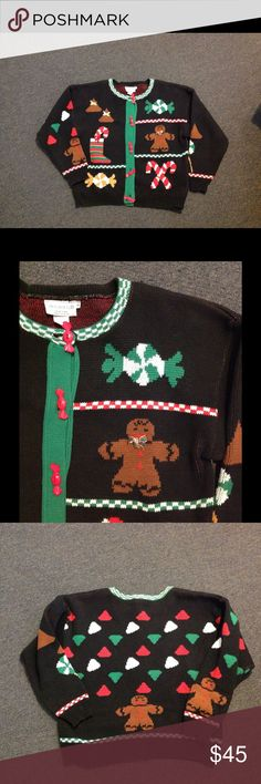 Vtg Ugly Christmas Sweater Gingerbread Man🎄SALE🎄 Super cute one of a kind Christmas sweater. Black cardigan with gingerbread men and lots of candy! Marked a size Large but please check the measurements. Gingerbread Men, Vintage Sweaters, Black Cardigan, Ugly Christmas Sweater, Fashion Design, Fashion Tips, Fashion Trends, Cardigans, Super Cute