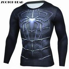 Spiderman T Shirts Men 3D Printed T-shirts Compression Fitness Camisetas 2017 Blck Long Sleeve Tops Autumn Superman ZOOTOP BEAR