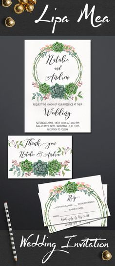 Succulent Wedding Invitation Printable, Floral Wedding Invitation Suite, Boho Wedding Invitations. Pink and Green Wedding Ideas, For more DIY wedding invitations check the following link: lipamea.etsy,com