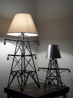 Купить Светильник - опора ЛЭП мини. - черный, лампа, светильник, настольная лампа, освещение, дизайн