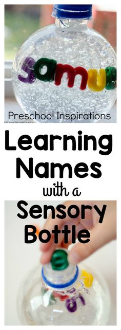 Are you working on name recognition? Or even teaching children to spell their names? This name sensory bottle is a perfect hands-on activity for teaching children to learn their names. This would be perfect as a preschool activity or kindergarten activity Preschool Names, Name Activities, Alphabet Activities, Hands On Activities, Sensory Activities, Kindergarten Activities, Infant Activities, Toddler Preschool, Preschool Activities