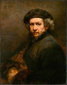 AUTORRETRATO , 1659  La forma de pintar de REMBRANDT cambió a finales de la década, sus cuadros se hacen ahora más silenciosos, más introvertidos. Este autorretrato se inspira en un importante retrato de Rafael que Rembrandt vio en Amsterdam, el retrato de Baldassarre Castiglione.