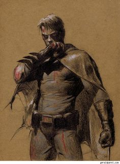 Awesome low-tech Batman.  Gerald Parel Pencils Smoldering Superheroine Pin-Ups And The Masters Of The Universe [Art] - ComicsAlliance | Comic book culture, news, humor, commentary, and reviews