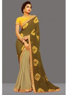 Party Wear Multi-Colour Chiffon Saree  - 80451