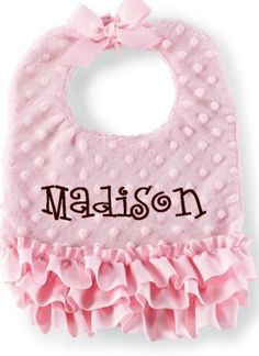 Mud Pie Pink Minky Baby Bib from Elizabeth's Embellishments Baby Sewing Projects, Sewing For Kids, Baby Gifts To Make, Diy Bebe, Bib Pattern, Baby Kind, Baby Crafts, Baby Accessories, Baby Quilts