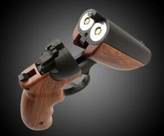 The Goblin Deuce is a stylish double-barreled airsoft and paintball gun. It can fire pellets or one paintball pellet per shell. It has a safety switch and single and double firing modes. Thumbnail image via DudeIWantThat. Weapons Guns, Guns And Ammo, Pyrus, Survival, Paintball Guns, Double Barrel, Firearms, Shotguns, Revolvers
