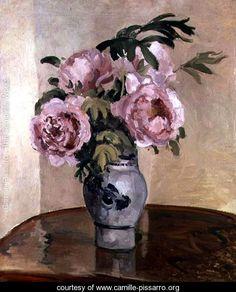 A Vase of Peonies 1875 - Camille Pissarro - www.camille-pissarro.org