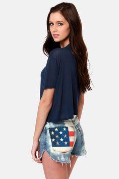 #DIY american flag patch pocket denim bleach dripped shorts