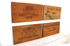 Set of 4 French Vintage wooden Wine Box signs. Great Bordeaux Wine. Great Kitchen decor on Etsy, $82.56