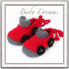 **IMPORTED ABSOLUTELY ADORABLE**Handmade Newborn Baby Infant Boys Lace Car Crochet Knit Booties Crib