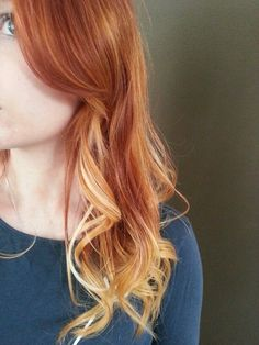 Natural red to blonde ombré - my hair will end up looking like this just more blonde tips Red Blonde Ombre, Red Hair With Blonde Highlights, Red Blonde Hair, Strawberry Blonde Hair, Ombre Highlights, Natural Red Hair, Natural Hair Styles, Natural Redhead, Balayage Ombré