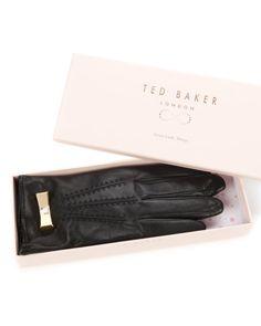 Metal bow leather gloves - Black   Gloves   Ted Baker UK