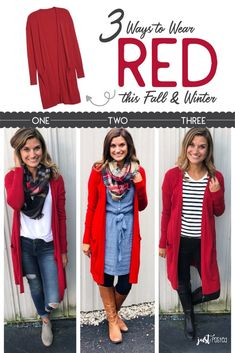 3 Different Ways & Style to wear this Red Cardigan this Fall & Winter! It is eas… – Outfits for Work 3 Different Ways & Style to wear this Red Cardigan this Fall & Winter! It is eas… Red Cardigan Outfits, How To Wear Cardigan, Winter Cardigan Outfit, Long Red Cardigan, Maroon Cardigan, Dress With Cardigan, Mode Outfits, Fashion Outfits, Fashion Trends
