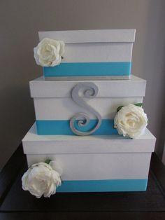 Three tier wedding card box with wooden initial Card Box Wedding, Wedding Guest Book, Wedding Ideas, Sweet 16 Parties, Grad Parties, Paris Sweet 16, Sweet 16 Masquerade, Wooden Initials, Sixteenth Birthday