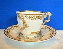 Copeland & Garrett Cup & Saucer, Felspar Porcelain , Antique 19th C English