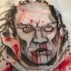 #ruffday Quick #namakubi marker study.  Love messy markers! #illustration #blood #horror #severedhead #irezumicollective @irezumicollective @bestirezumi