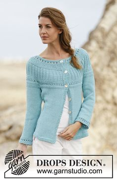 Athena Cardigan By DROPS Design - Free Knitted Pattern - (ravelry)
