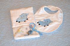 Baby Lamb Bib and Burp Cloth Gift Set by stitchinplace on Etsy, $29.00