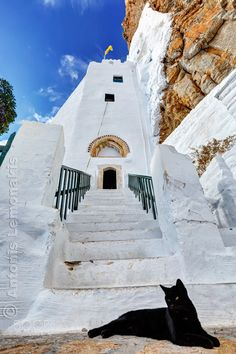Hozoviotissa monastery, Amorgos, Greece Mykonos, Santorini, Entrance, Greece, House Styles, Cats, Building, Places, Travel