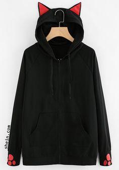 Cat-Ear Hooded Sweatshirt Jacket