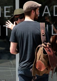 On-screen lovers: Emma Stone and Andrew Garfield recently starred together in The Amazing Spider-Man 2, which hit theatres May 2 -- Will Leather Goods #backpack