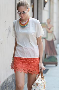 lace skirt in coral from Storets seen below on Chiara Ferragni - See more at: http://thefashioner.com/coral-lace-skirt/#sthash.QwHPFawc.dpuf