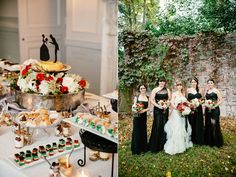 bridesmaids and dessert table - photo by The Melideos http://ruffledblog.com/alder-manor-wedding-with-a-green-dress