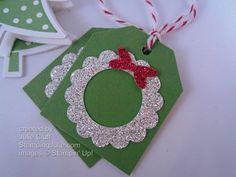 christmas tags glitter wreath
