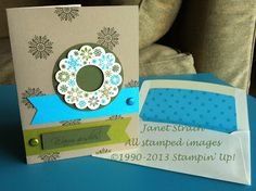 """funkyj creations - Stampin' Up!, Four Seasons & Hugs & Wishes stamp sets; Tempting Turquoise Prints DSP; Crumb Cake, Tempting Turquoise, Old Olive, Always Artichoke, & Very Vanilla cardstock; Tempting Turquoise, Old Olive, & Always Artichoke Markers; 1"""" Circle Punch, 2-1/2"""" Circle Punch, 2-3/8"""" Scallop Circle Punch, Hexagon Punch (for flagged ends), Paper Piercer (for brads), Big Shot, Envelope Liners Framelits; Brights Glimmer Brads, Stampin' Dimensionals"""