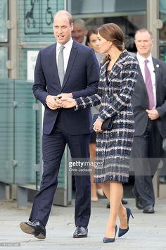 Prince William, Duke of Cambridge and Catherine, Duchess of Cambridge after touring the National Football Museum during their visit to Manchester on October 14, 2016 in Manchester, England.