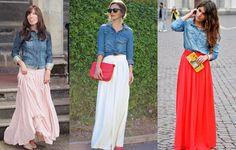 looks com camisa jeans feminina e saia - Pesquisa Google