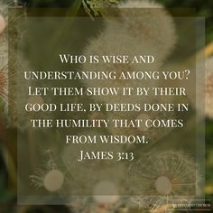 Who is wise and understanding among you? Let them show it by their good life, by deeds done in the humility that comes from wisdom. James 3:13 #verseoftheday #CVC #bible #Youversion #Scripture http://www.cobbvineyard.com/