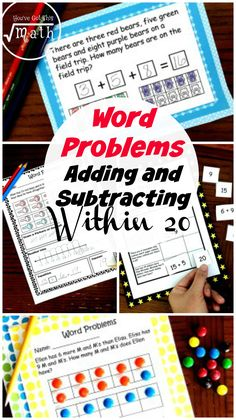 These word problems help children practice adding and subtracting within They use 10 frames, number lines, and equations to help children be successful. Subtraction Activities, Math Activities For Kids, Math For Kids, Kids Fun, Math Resources, Counting Activities, Math Worksheets, Line Math, Homeschool Blogs