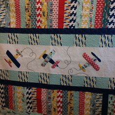 Adorable Airplane Quilt made from Riley Blake Designs Fly Aweigh collection -- gorgeous bold fabrics. Cute Quilts, Small Quilts, Kid Quilts, Quilt Baby, Quilting Projects, Quilting Designs, Applique Designs, Airplane Quilt, Boys Quilt Patterns