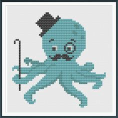 This listing is for a cross stitch ePattern to make a octopus with a mustache, top hat, cane, and monocle on 14-count Aida cloth. This pattern arrives as an In