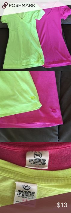 2 Victoria Secret Pink V Necks Size Small Great condition. Green is in like new condition tag is cut as shown in pic. Pink has light piling, but still very nice . Great price for both. Bundle to save more. Lowest offer is the price listed. No trades or Mercari. Fits a S/M PINK Victoria's Secret Tops Tees - Short Sleeve