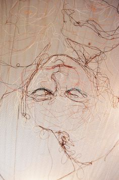 """stitched art inspiration """"The Dream Self"""" by Louise Riley; New Media, Installation Textiles, Xavier Veilhan, Contour Drawing, Ap Art, Textile Artists, Gravure, New Media, Embroidery Art, Fabric Art"""