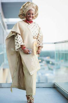 Nigerian Yoruba bride in Sequin Gele, Champagne/Gold lace and Aso-Oke