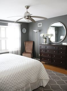 Amherst Gray - Ben.Moore - Running from the Law: Master Bedroom Makeover - Before & After