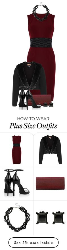 """Dark Red"" by derniers on Polyvore featuring Karen Millen, Mixit, aprico, Judith Leiber, Yves Saint Laurent, women's clothing, women's fashion, women, female and woman"