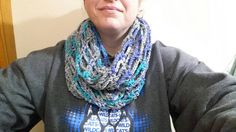 Crochet Fashionable Infinity Scarf In Cloudy by JensNeedleKnows