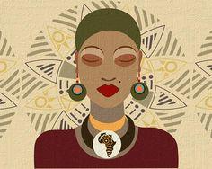 African American Art Work, African Queen Pop Art Decor, African Shop Wall Art Print, African Woman Portrait, African Print Clothing.