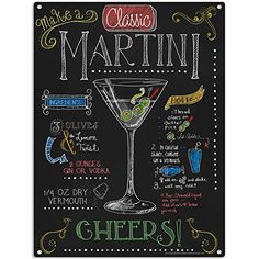 Martini Recipe Chalkboard Style Sign Bar Decor 12 x 16 * Click on the image for additional details. Note:It is Affiliate Link to Amazon.